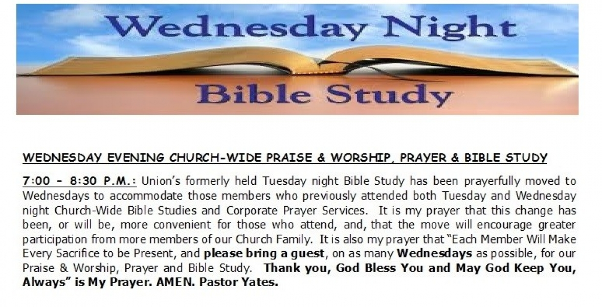 Wednesday Evening Bible Study