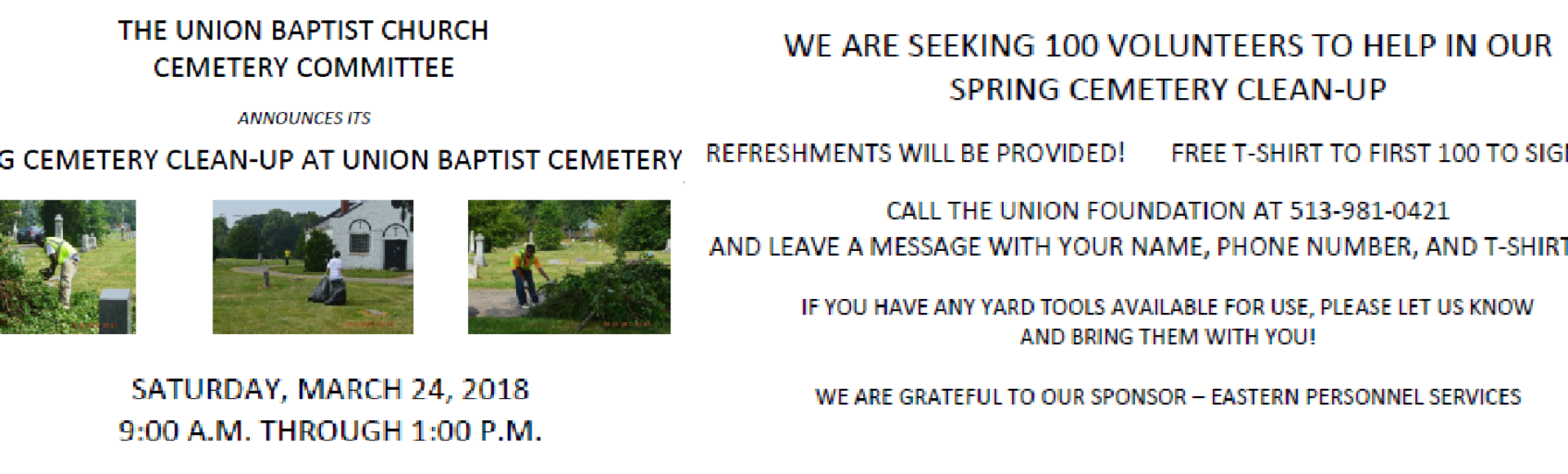 Spring Cemetery Cleanup 2018